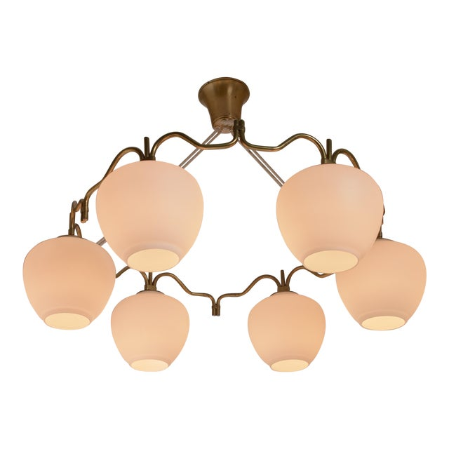 Bent Karlby Brass Six Shade Chandelier for Lyfa, Denmark, 1950s For Sale