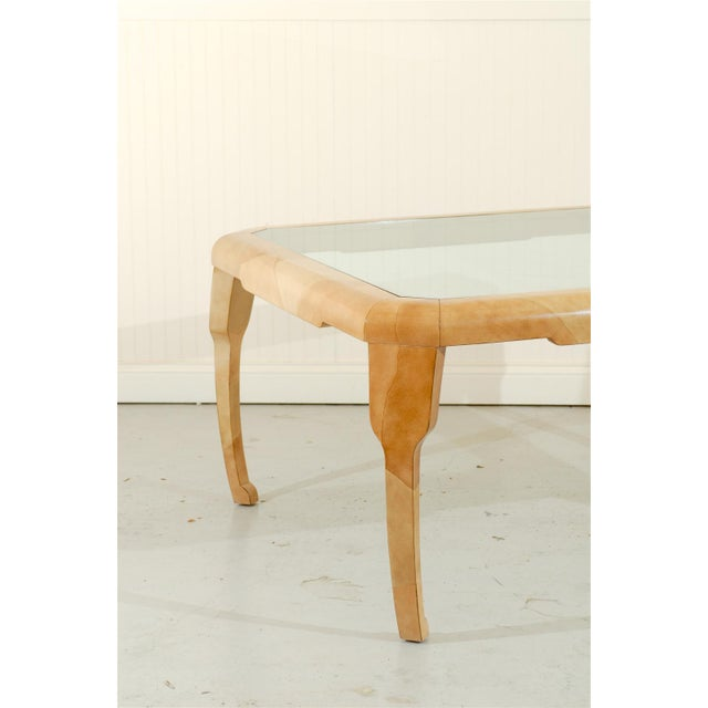 1980s Rare Lacquered Faux Goatskin Dining or Game Table by Alessandro for Baker For Sale - Image 5 of 10