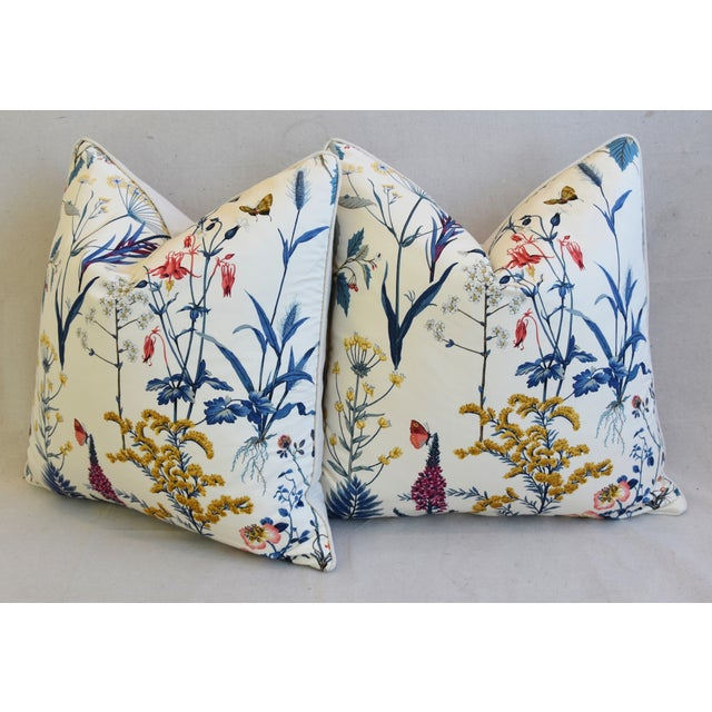 "Floral Wildflower Botanical Cotton & Linen Feather/Down Pillows 24"" Square - Pair For Sale - Image 9 of 13"