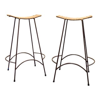 1960s Vintage Arther Umanoff Style Wicker & Iron Stools- A Pair For Sale
