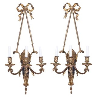 1900s Vintage Louis XVI Style Lion Mask Sconces- A Pair For Sale