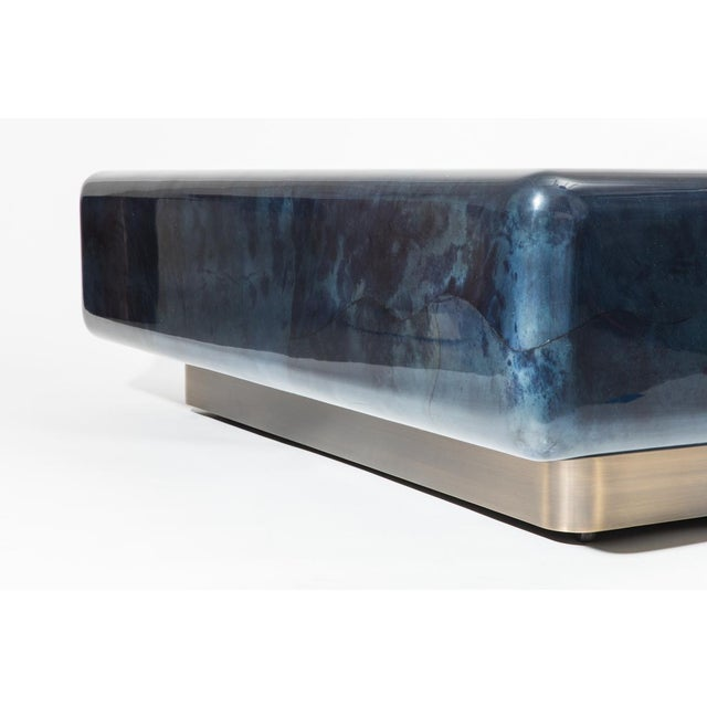 2010s Lacquered Goatskin Pedestal Base Low Table, Usa For Sale - Image 5 of 9