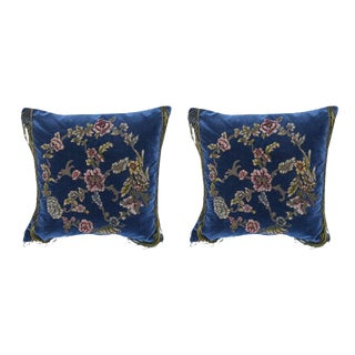 19th C. Embroidered & Appliqued Pillows - A Pair For Sale