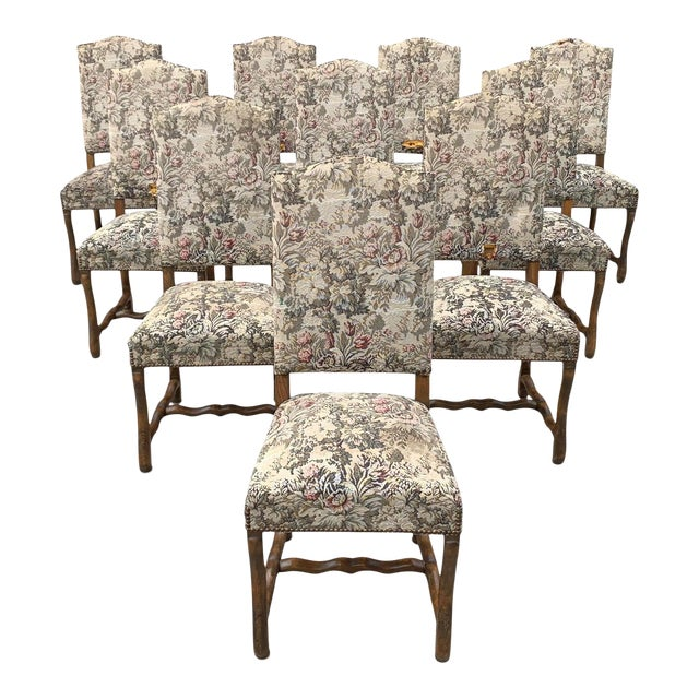 1900s Vintage French Louis XIII Style Os De Mouton Dining Chairs- Set of 10 For Sale