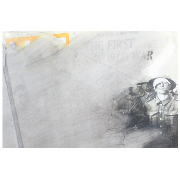 World War One Overpaint on Magazine Paper, 1964 by Wolf Vostell, famous artist featured in MoMA Watercolor on Magazine...
