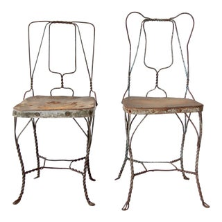Antique Metal Garden Chairs - a Pair For Sale