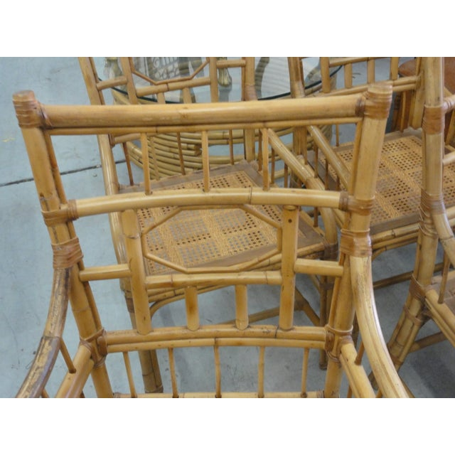 Vintage Geometric Bamboo & Cane Dining Chairs - Set of 8 For Sale In West Palm - Image 6 of 12
