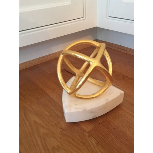 Gold Sphere on Marble Base Art Object - Image 3 of 4