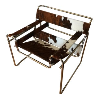 Steel Line Italian Cowhide Wassily Style Chair For Sale
