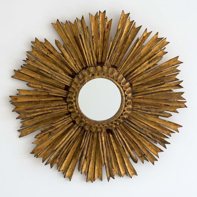 Mid 20th Century Mid-Century Two Tier Gilded Wood Sunburst Mirror For Sale - Image 5 of 5
