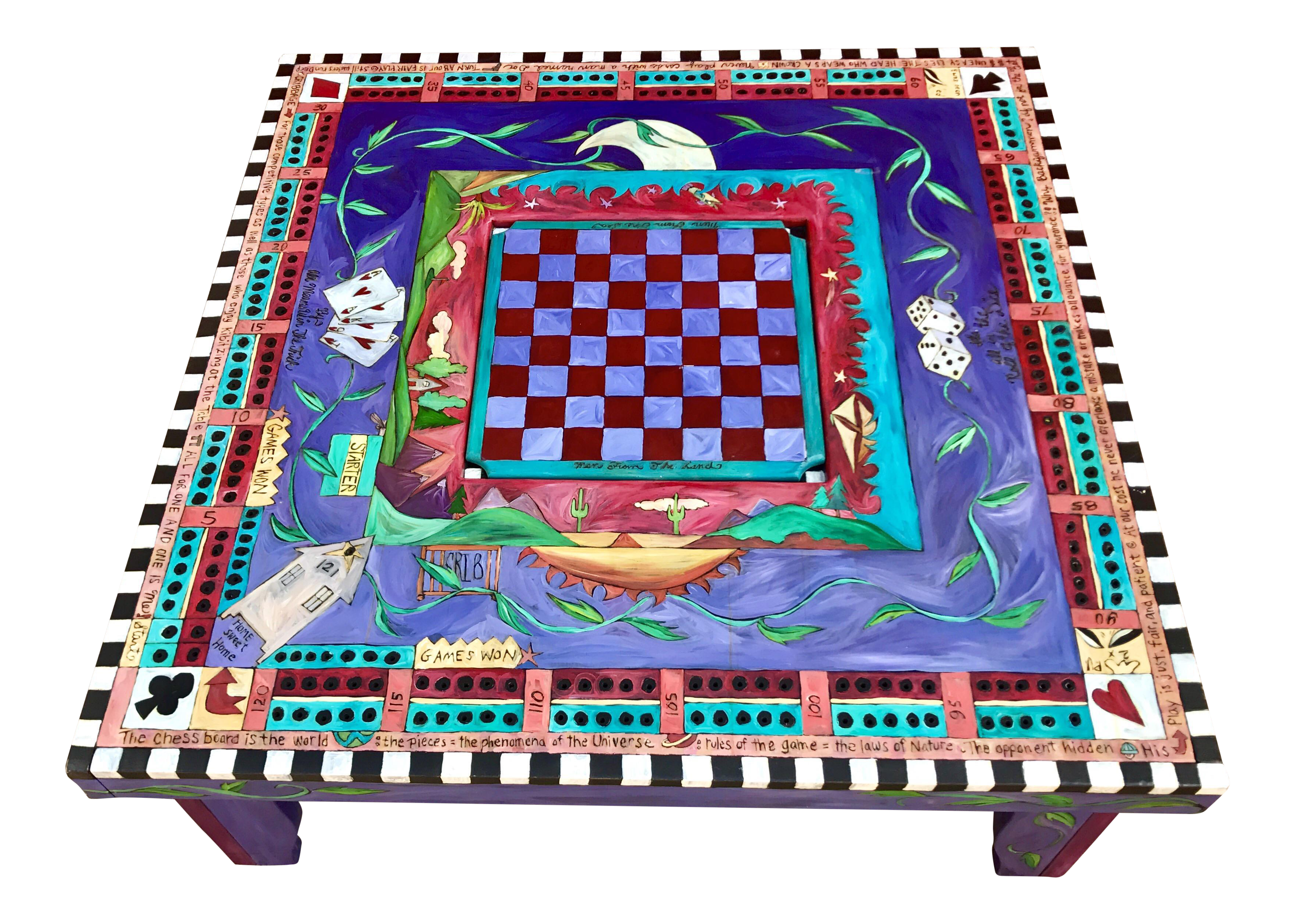 Sticks Hand Painted Game Coffee Table