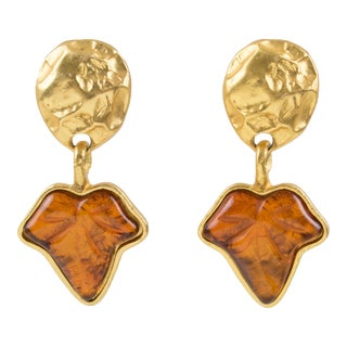 Marc Labat Paris Signed Clip Earrings Dangle Gilt Metal Leaf Amber Resin For Sale