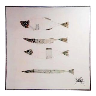 Modernist Scandinavian Fish Oil Painting For Sale