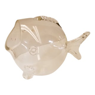 Mid Century Blenko Blown Glass Tabletop Fish Container For Sale
