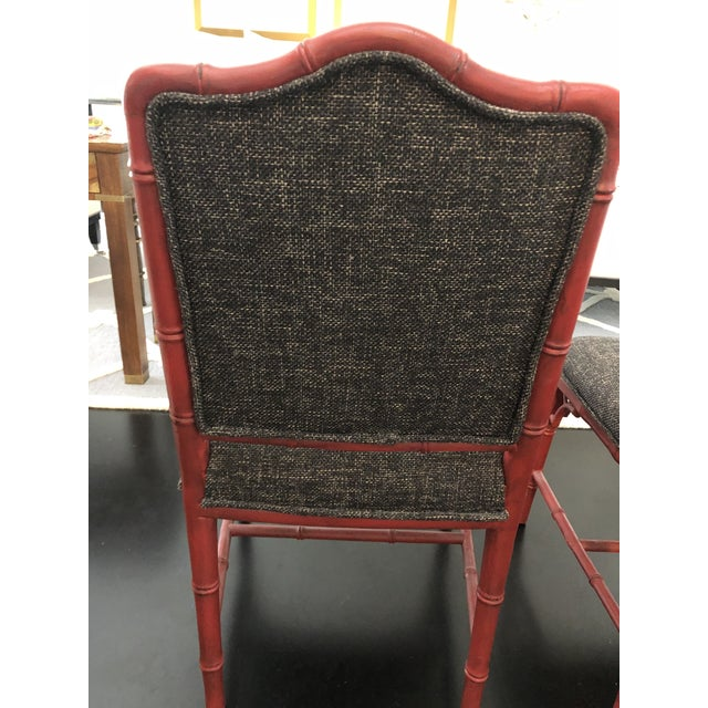 Red Chinoiserie Faux Bamboo Style Chairs- a Pair For Sale - Image 8 of 9