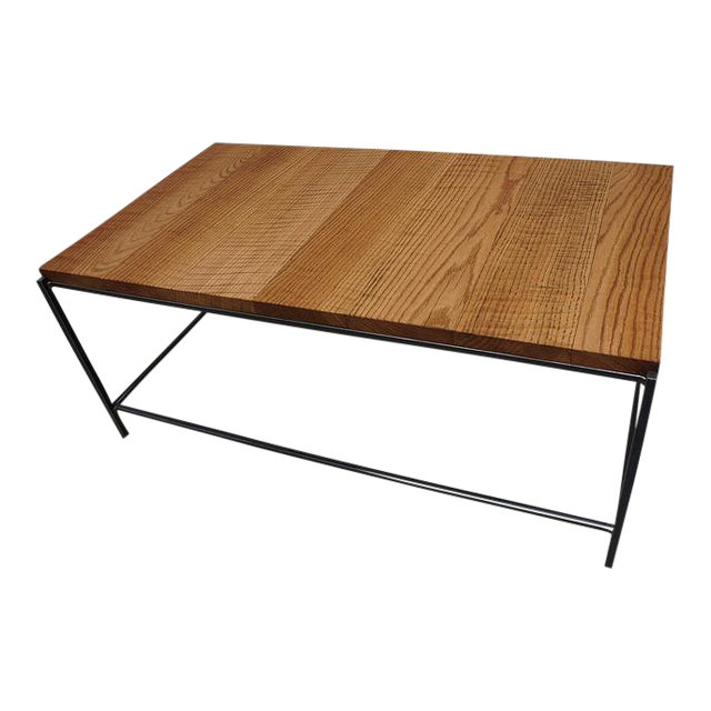Industrial Modern Reclaimed Tiger Oak Iron Coffee Table - Image 1 of 3
