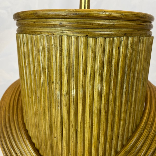 Vintage Gabriella Crespi Style Reeded Rattan Sculptural Table Lamp For Sale - Image 11 of 13