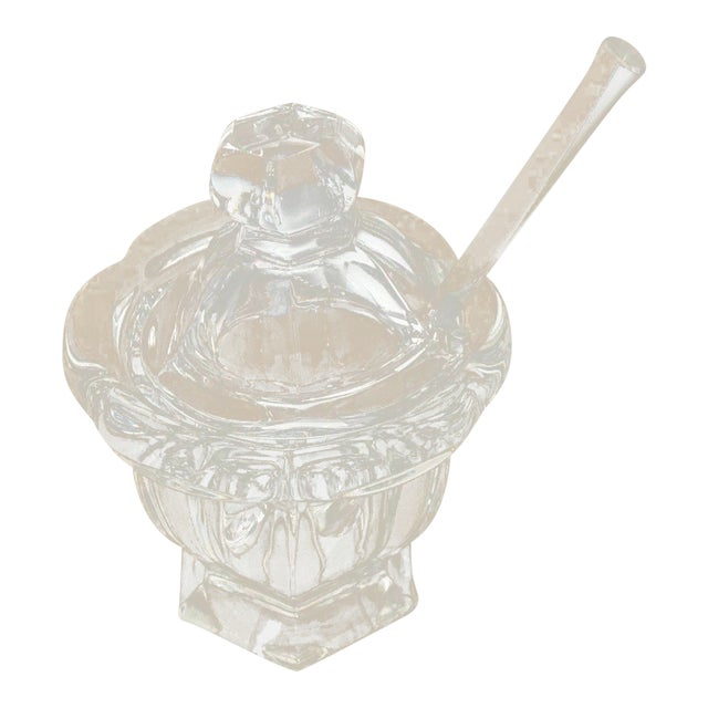 Baccarat Cristal France Small Clear Crystal Honey Pot With Lid & Spoon For Sale
