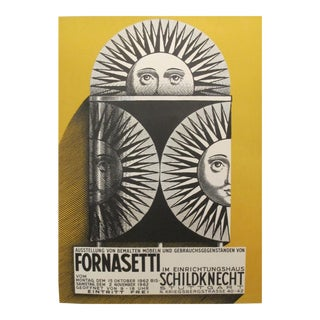 1962 Original Piero Fornasetti Exhibition Poster (yellow) For Sale