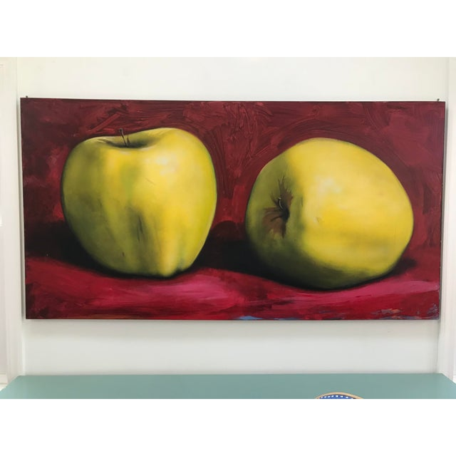 Circa 1990s Golden Apples Tom Seghi Acrylic Monumental Still Life Oil on Canvas Painting For Sale - Image 12 of 12