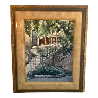 Vintage Triple Matte Courtyard in Provence Print by Roger Duvall, Framed For Sale