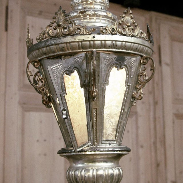 Gold 19th Century Venetian Silvered Brass Lantern Chandelier For Sale - Image 8 of 9