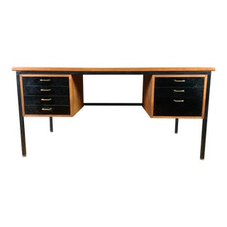 Mid-Century Teak & Black Lacquer 7-Drawer Desk For Sale