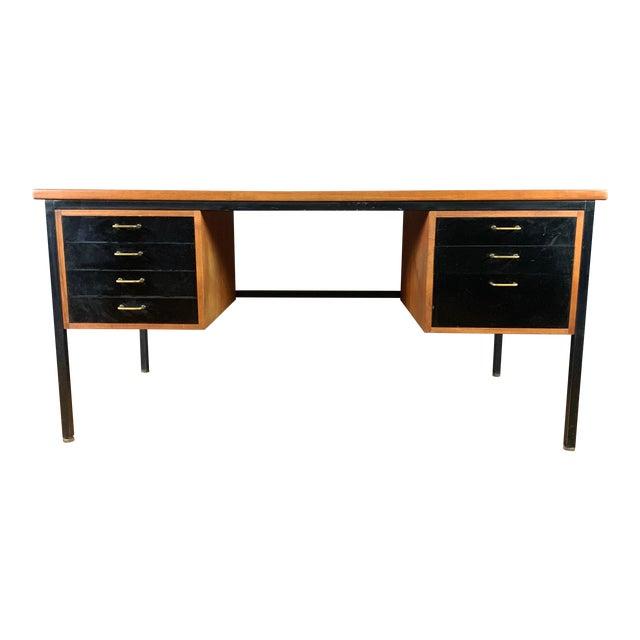 Mid-Century Teak & Black Lacquer 7-Drawer Desk For Sale