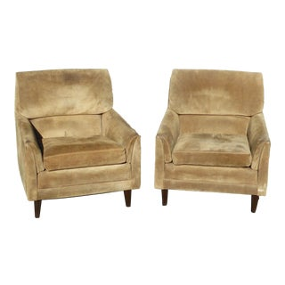 Vintage Marge Carson Mid-Century Modern Tan Suede Accent Chairs - a Pair