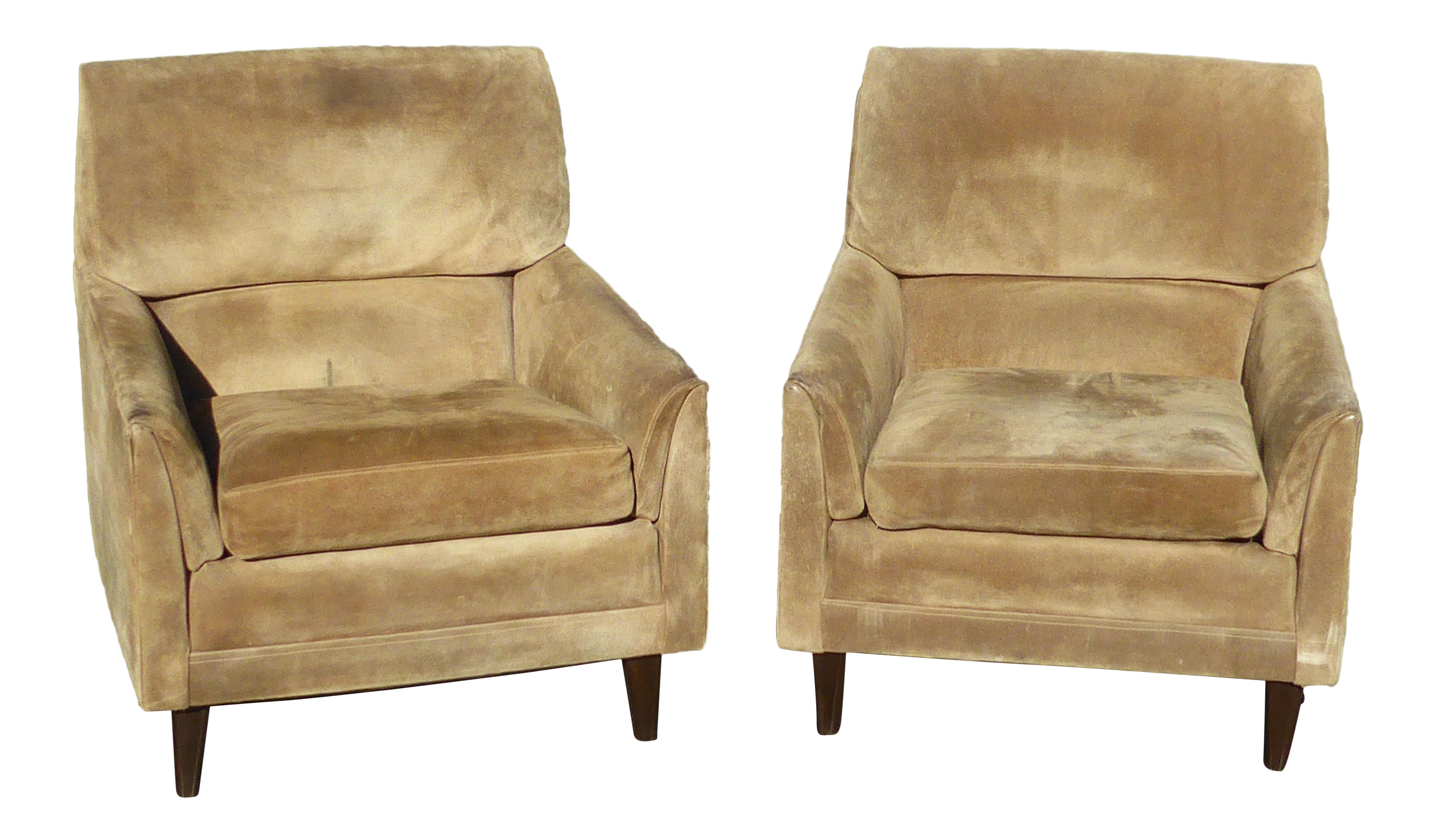 Vintage Marge Carson Mid Century Modern Tan Suede Accent Chairs   A Pair