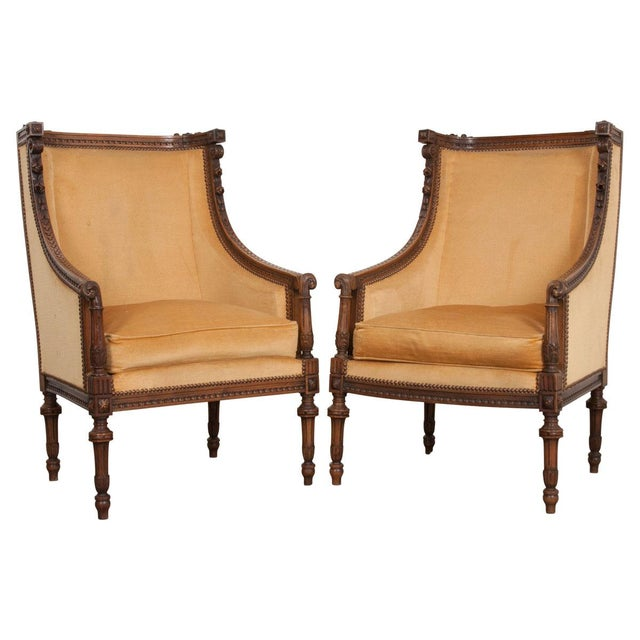 French 19th Century Louis XVI Carved Walnut Bergères - a Pair For Sale - Image 12 of 12