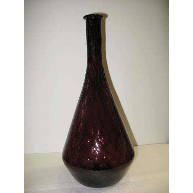 1970s Mid Century Aubergine Glass Vase For Sale - Image 5 of 8
