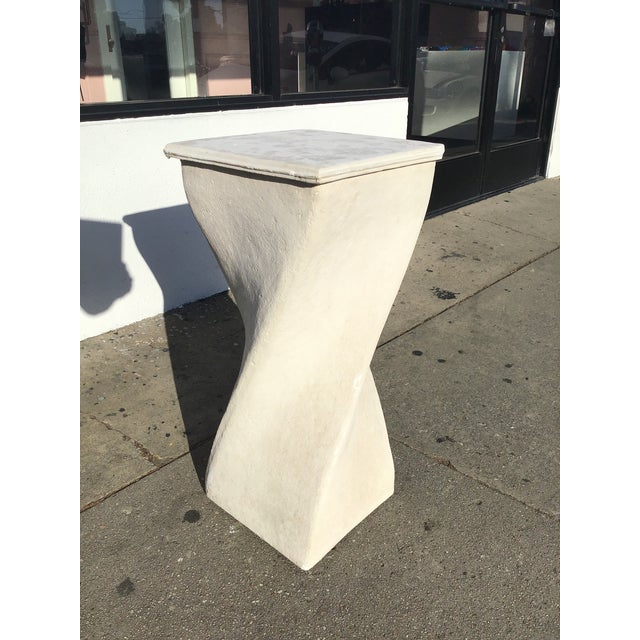White 1980s Vintage Plaster Twisted Pedestal For Sale - Image 8 of 8