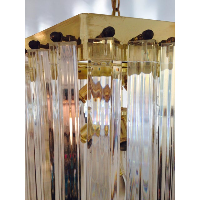 1970s Italian Lucite & Brass Ribbon Chandelier - Image 4 of 6