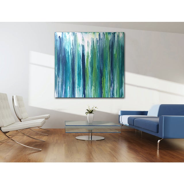 Gorgeous, watery shades of blue and green. A breathtaking piece. As with most of my work, can be displayed from any...
