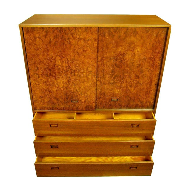 Mid-Century Modern Harvey Probber Olive Ash Burl, Rosewood and Mahogany Gentleman's Chest For Sale - Image 3 of 8