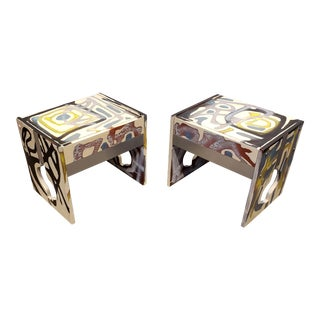 Graffitied Artist Painted 1970s Nightstands - a Pair For Sale