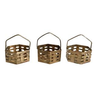 Vintage Woven Brass Baskets - Set of 3 For Sale