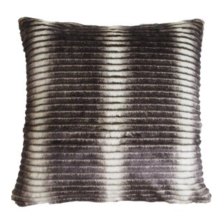 "Piper Collection Faux Fur ""Smokey"" Pillow For Sale"