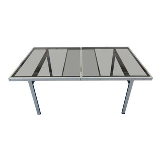 Vintage Mid-Century Pierre Cardin Flat Bar Chrome and Smoked Glass Dining Table For Sale