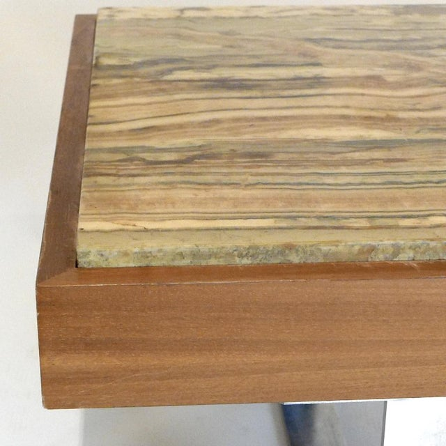 Mid-Century Modern Ilse Möbel Coffee Table With Rare 'Onyx Travertine', Teak & Chrome From Germany For Sale - Image 3 of 12