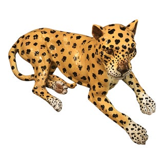 Vintage Italian Terra-Cotta Leopard For Sale