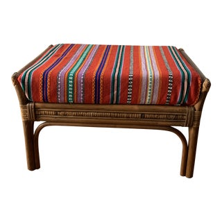 1970s Vintage Bamboo Ottoman Footstool For Sale
