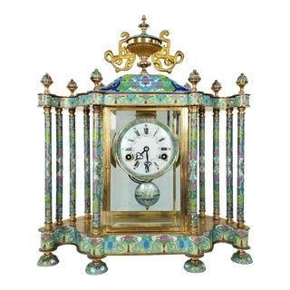 Mid Century Chinese Cloisonné Mantel Clock For Sale