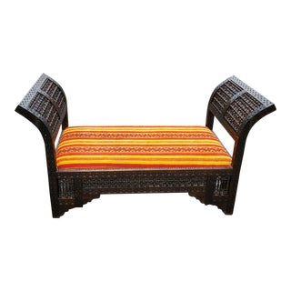 Moroccan Contemporary Cedar Wood Bench For Sale
