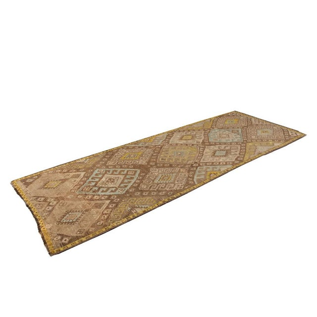 Mid 20th Century Vintage Brown Turkish Runner Rug 3'x10' For Sale - Image 5 of 5