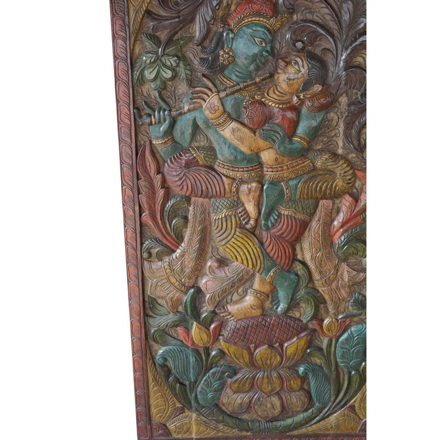 Abstract Vintage Hand Carved Krishna Radha Fluting Standing on Lotus Indian Wall Hanging Barn Door For Sale - Image 3 of 5