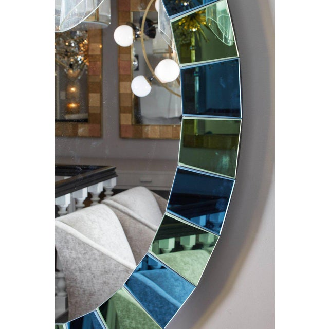 2010s Custom Oval Mirror with Blue and Green Beveled Mirror Squares Surround For Sale - Image 5 of 7