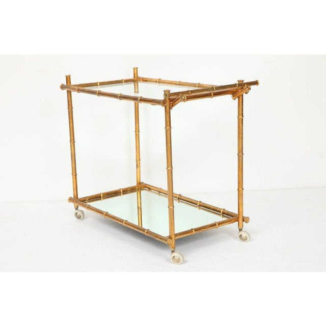 Italian Gilt Iron Stylized Bamboo Serving / Bar Cart For Sale - Image 9 of 11