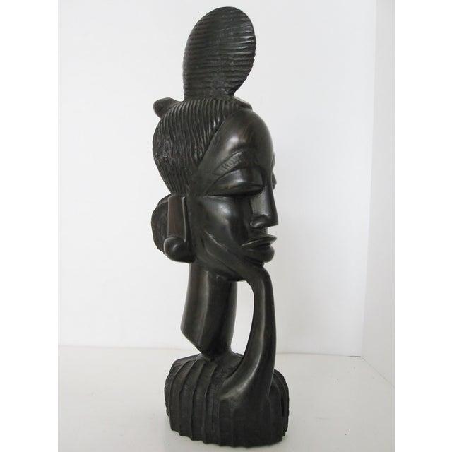 Vintage Hand-Carved Ebony Bust - Image 3 of 8